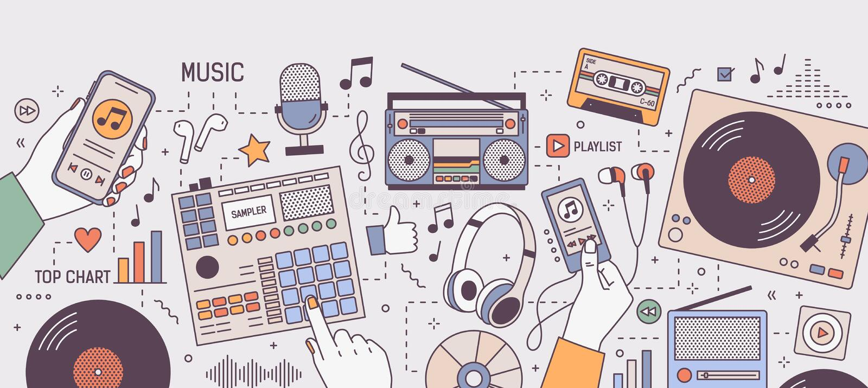 Bunte horizontale Fahne mit den Händen und den Geräten für die spielende und hörende Musik - Spieler, boombox, Radio, Mikrofon lizenzfreie abbildung