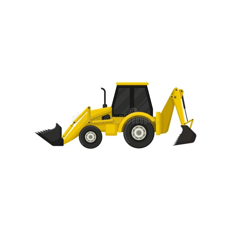 Bunte Ikone des Baggerladers Gelber Traktor mit zwei Eimern Schwere grabende Maschine Flaches Vektordesign stock abbildung