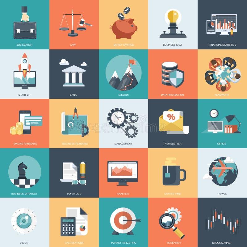 Bunte Ikone stellte für Geschäft, Management, Technologie und Finanzen ein Flache Gegenstände für Website und mobile Apps vektor abbildung