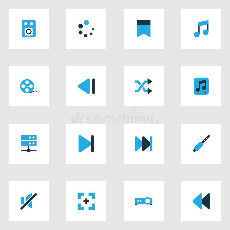 Bunte Ikonen der Multimedia eingestellt Sammlung musikalische Anmerkung, Datei, Stummer und andere Elemente Schließt auch Symbole stock abbildung