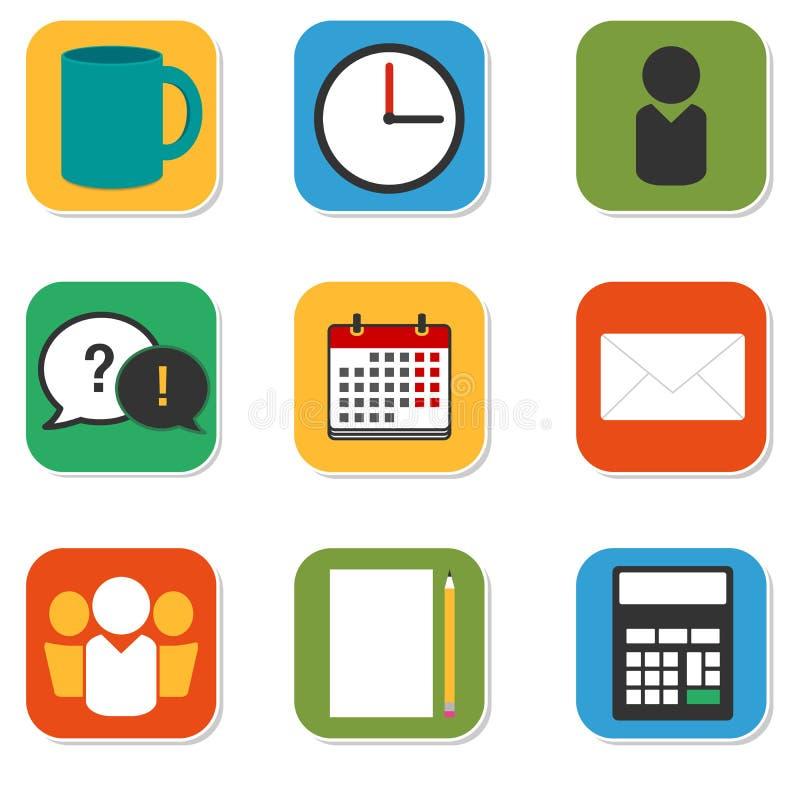 Bunte Ikonen des Vektors eingestellt: Werktage Moderne flache Ikonensammlung mit täglichen Büroprogrammeinzelteilen stock abbildung