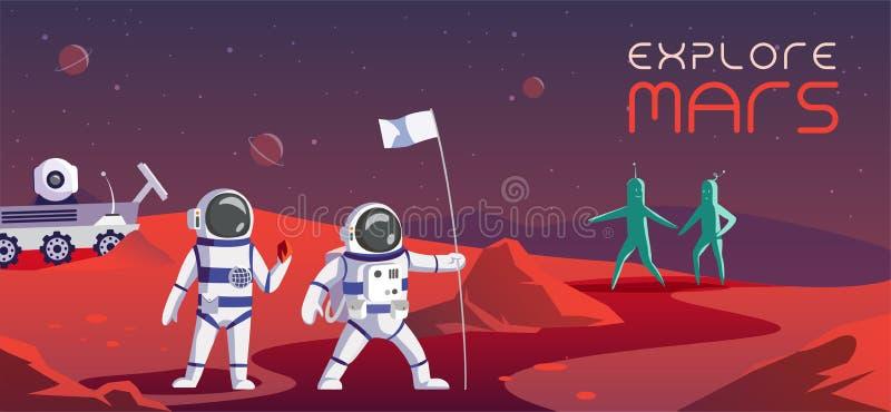 Bunte Illustration der Astronauten, die Mars erforschen lizenzfreie abbildung