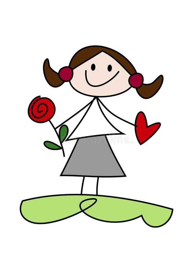 Karikaturmädchen, das Blume und Herz hält lizenzfreie abbildung