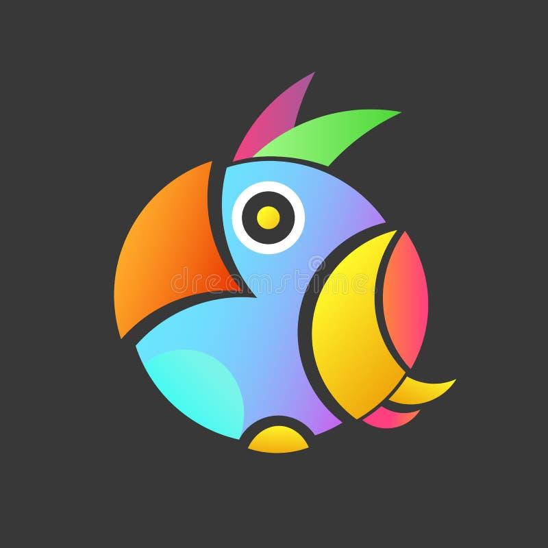 Bunte Illustration des Papageien mit Hintergrund, ein kleines Logo eines exotischen Vogels lizenzfreie abbildung