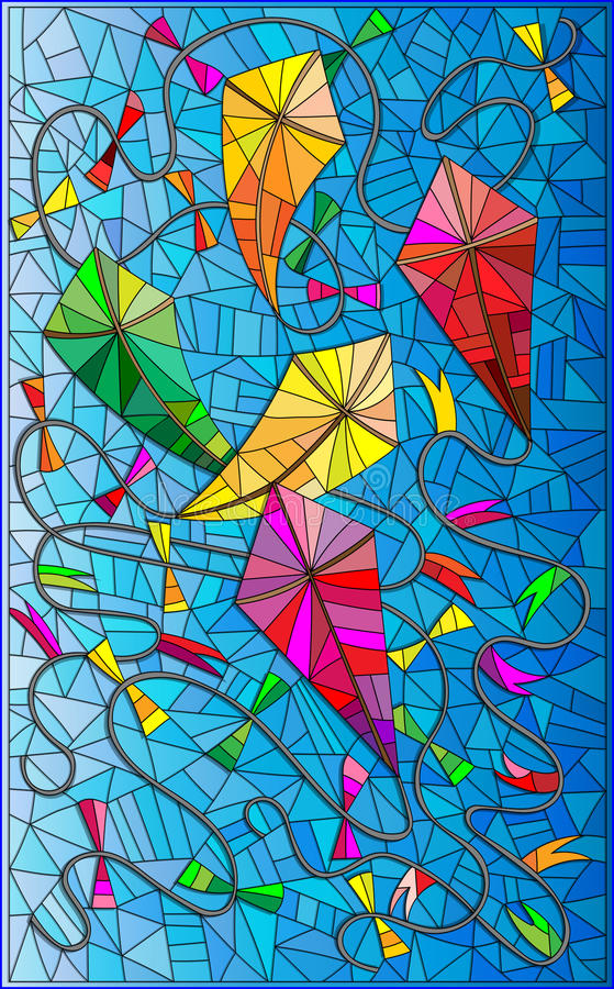 Bunte Illustration mit Drachen im Himmel, Buntglasart lizenzfreie abbildung
