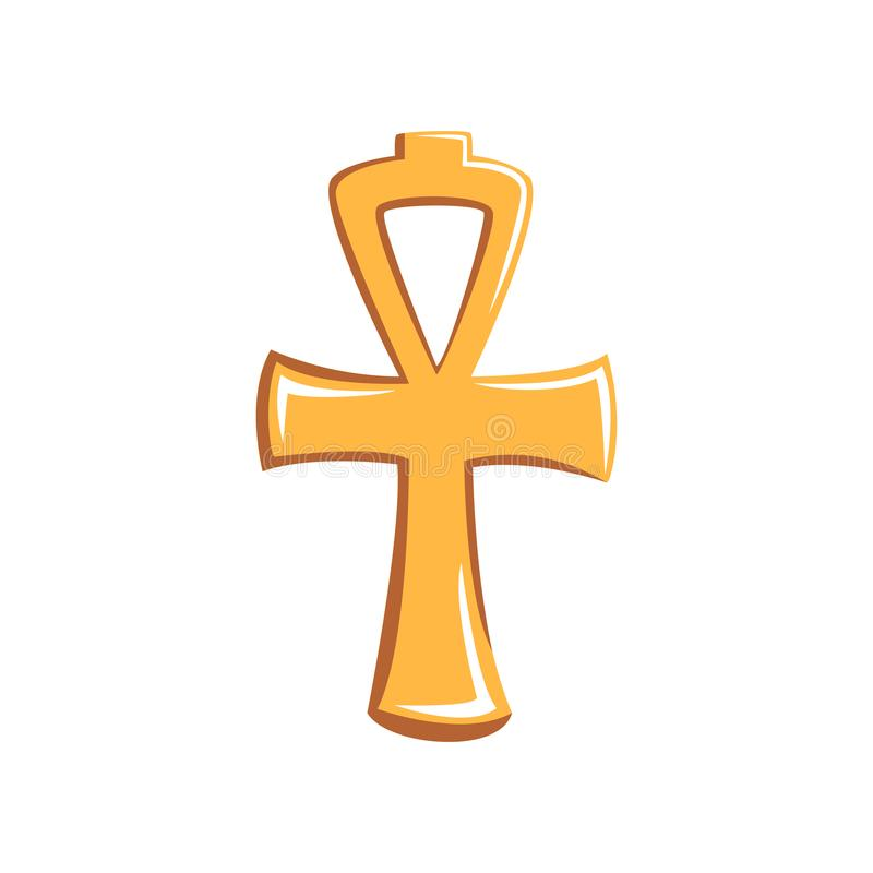 Bunte Illustration von Ankh Zeichen des alten Ägypters Karikaturikone des goldenen Kreuzes Symbol des Lebens Grafisches Element lizenzfreie abbildung