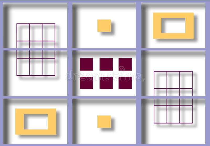 Bunte Illustration von schattierten Quadraten stockbilder