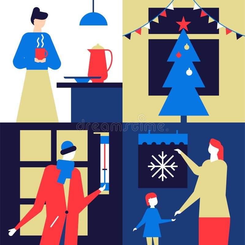 Bunte Illustration Weihnachtsder zeit- flachen Entwurfs-Art lizenzfreie abbildung
