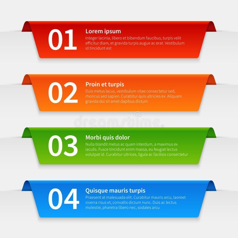 Bunte infographic Fahnen Mit Laschen versehene Aufkleberschablone, infographics nummerierte Bandrahmen mit Text Vektor des Berich stock abbildung