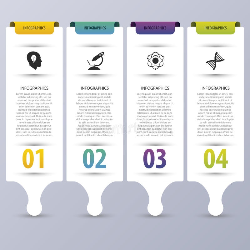 Bunte infographic Fahnen Moderne vektorauslegungschablone Auch im corel abgehobenen Betrag lizenzfreie abbildung