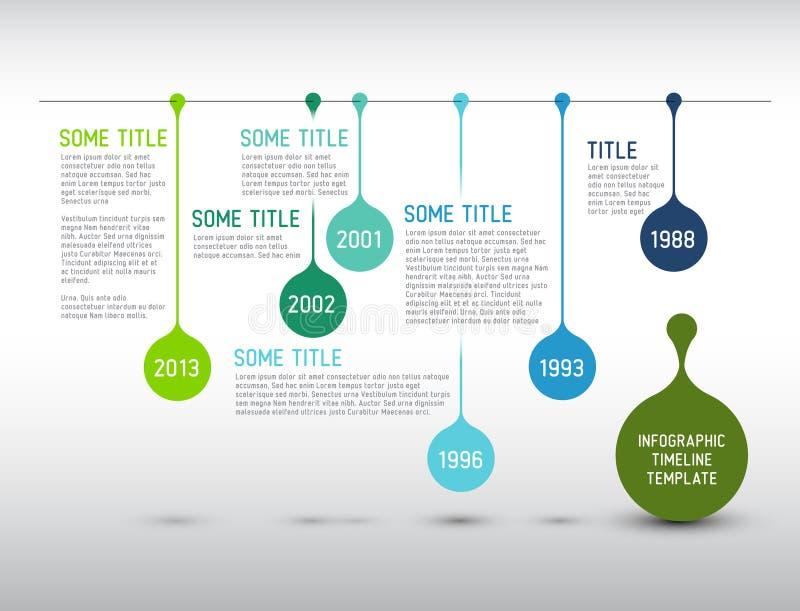 Bunte Infographic-Zeitachse-Berichtsschablone mit Tropfen lizenzfreie abbildung
