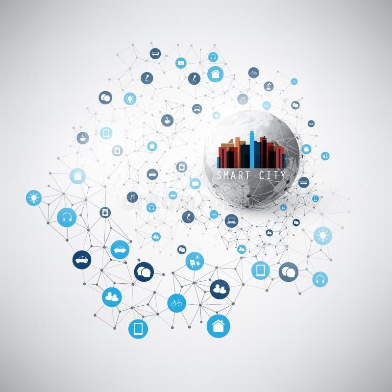 Bunte intelligente Stadt, Wolken-Datenverarbeitungskonzept des Entwurfes mit Ikonen - Digitalnetz-Verbindungen, Technologie-Hinte stock abbildung