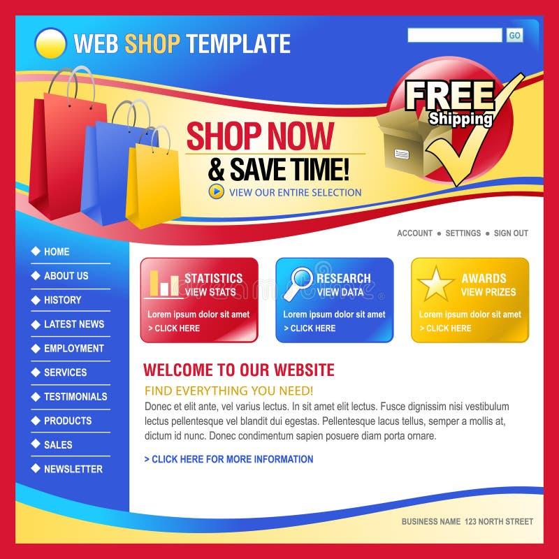 Bunte Internet-Web-Einkaufen-Speicherschablone lizenzfreie abbildung