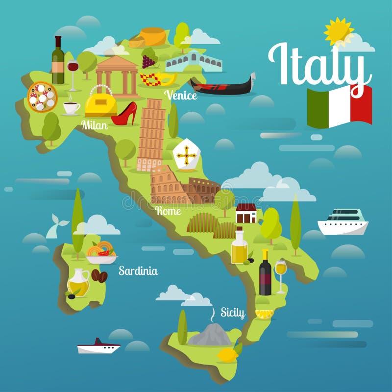 Bunte Italien-Reisekarte mit Besichtigungsweltarchitektur-Vektorillustration der Anziehungskraftsymbole italienischer vektor abbildung