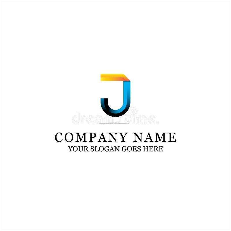 Bunte J-Buchstabe-Logoinspiration - moderner Anfangsvektor für Steigungsfarbe vektor abbildung