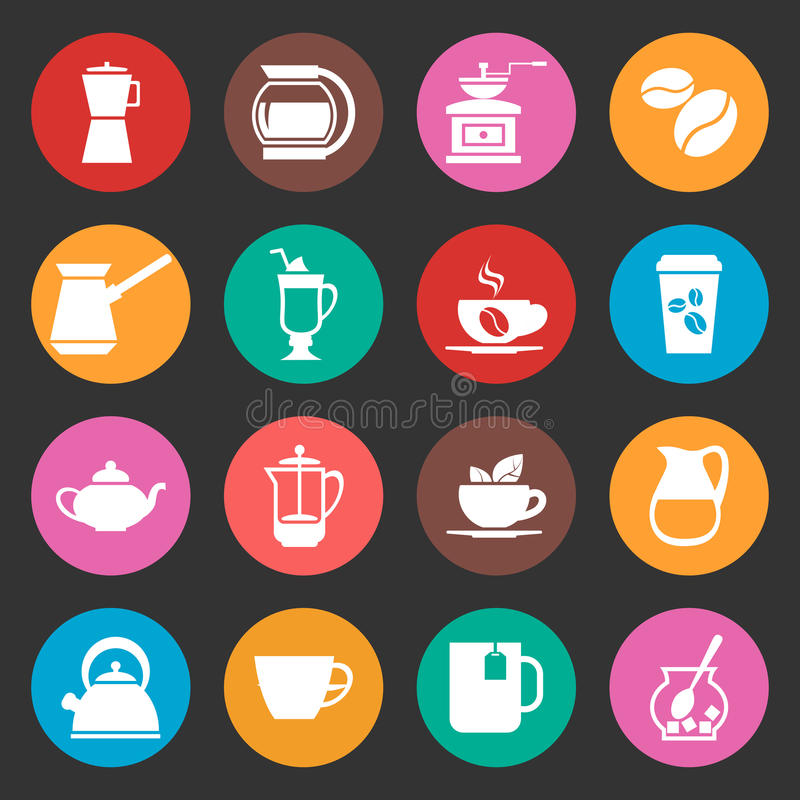 Bunte Kaffeevektorikonen eingestellt lizenzfreie abbildung