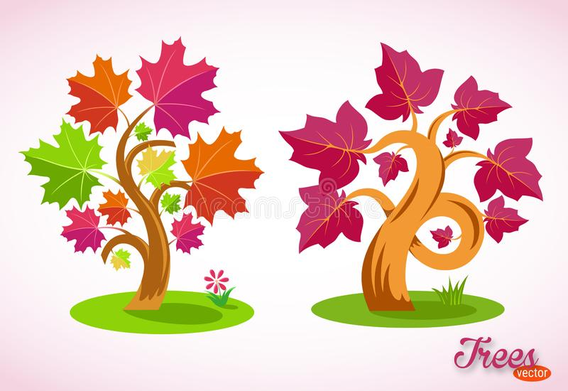 Bunte Karikatur-B?ume Gebogene Niederlassungen, saftige Blätter, grüner Rasen, Gras, Blume Lokalisiertes Bild auf wei?em Hintergr lizenzfreie abbildung