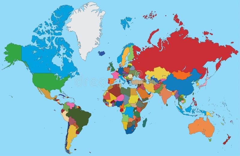 Bunte Karte der Welt stock abbildung