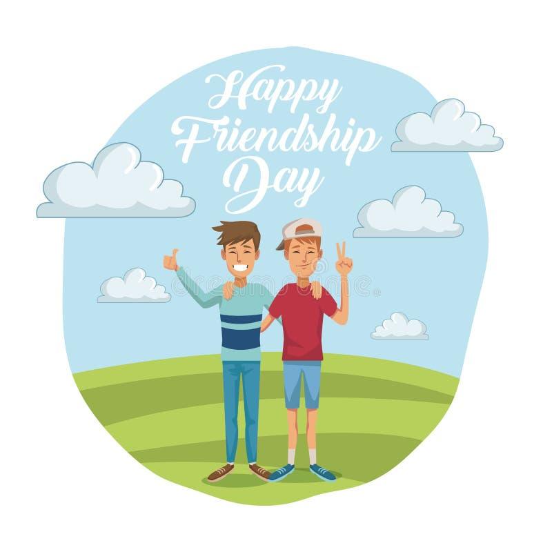 Bunte Karte des glücklichen Freundschaftstages mit Paaren der männlichen Freunde draußen am sonnigen Tag vektor abbildung