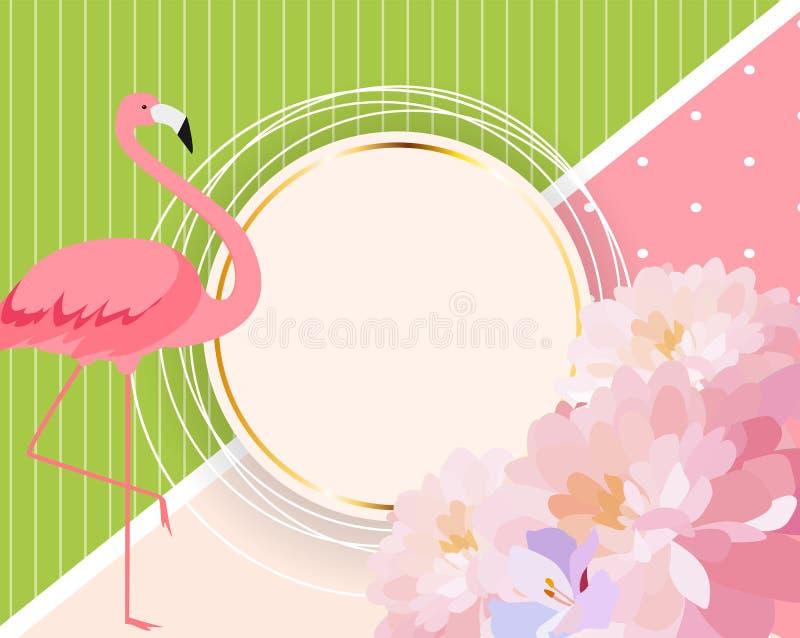 Bunte Karten-Schablone mit Karikatur-Rosa-Flamingo und Blumen Abbildung lizenzfreie abbildung