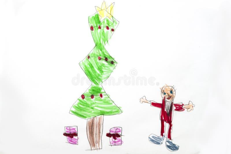 Bunte Kind-` s Zeichnung des Weihnachtsbaums mit Geschenken lizenzfreie abbildung