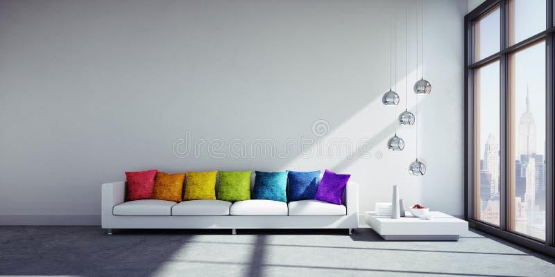 Bunte Kissen auf einem Sofa in einem modernen Wohnzimmer vektor abbildung