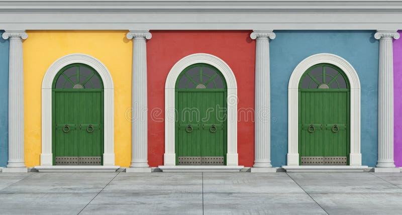 Bunte klassische Fassade mit Ionenspalte lizenzfreie abbildung