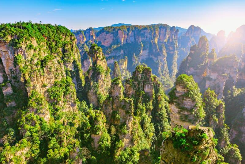 Bunte Klippen in Zhangjiajie Forest Park lizenzfreie stockfotos