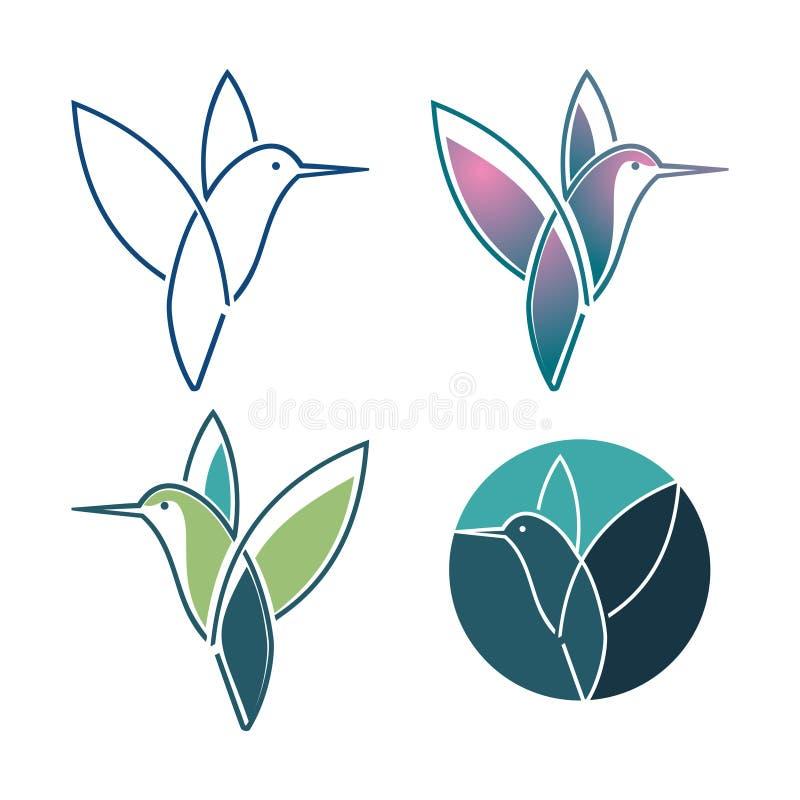 Bunte Kolibri Colibri-Vogel-Fliegen-Linie Art Symbol vektor abbildung