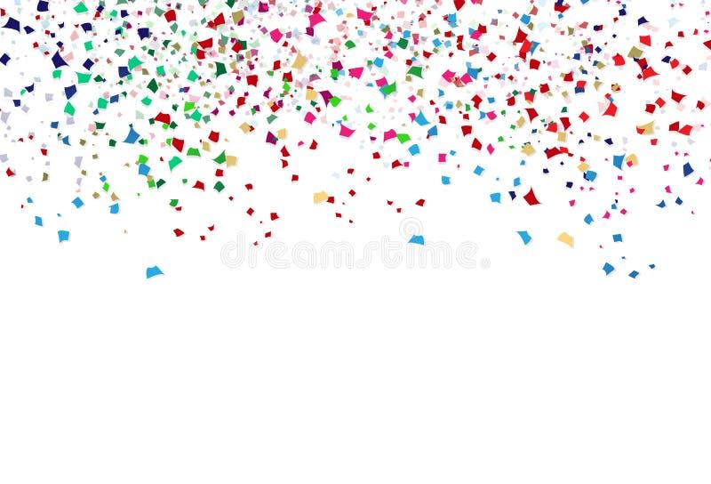 Bunte Konfettis, Papierstreuungsfeier-Parteizusammenfassung zurück vektor abbildung