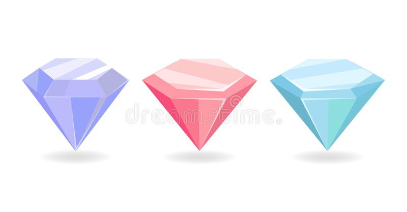 Bunte kostbare Diamant-purpurrote rosa blaue Farbe vektor abbildung