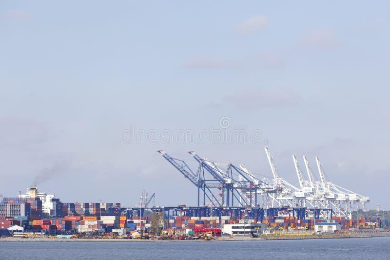 Bunte Kräne und Behälter in New-Jersey Hafen lizenzfreie stockfotografie