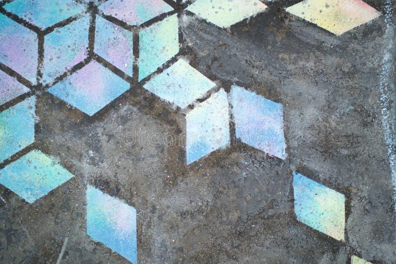 Bunte Kreidezeichnung, Diamantmuster lizenzfreie abbildung