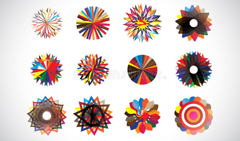 Bunte kreisförmige konzentrische geometrische Formen lizenzfreie abbildung