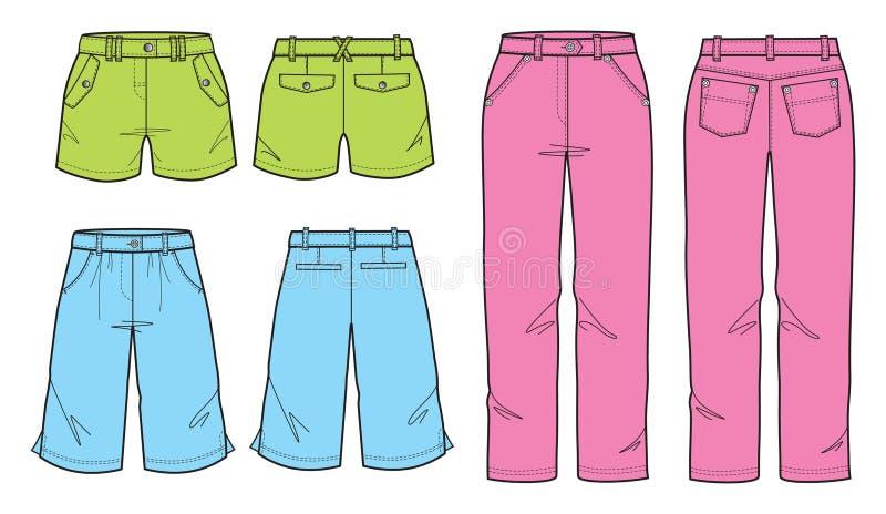 Bunte kurze Hose für junge Frauen und Mädchen vektor abbildung