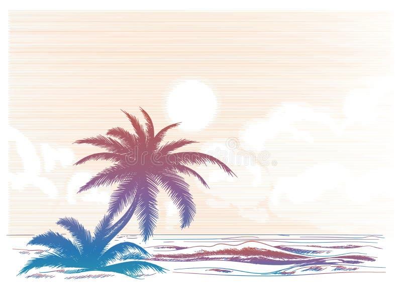 Bunte Landschaft des Palme-Strandes stock abbildung