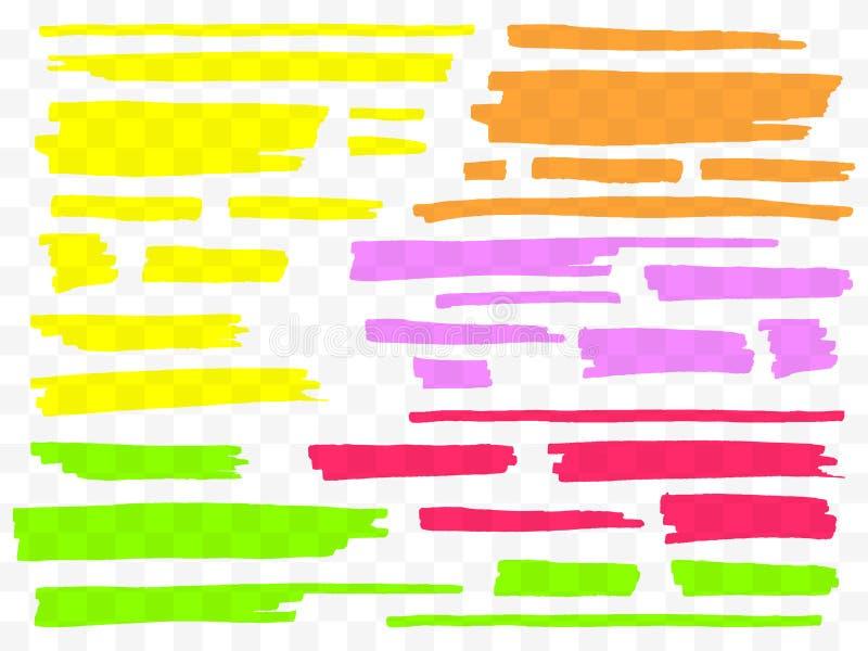 Bunte Leuchtmarker eingestellt Gelbe, grüne, purpurrote, rote und orange Markierungen Transparente Hand gezeichnete Bürstenlinien lizenzfreie abbildung