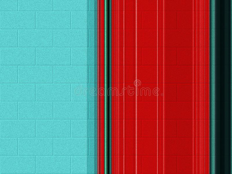 Bunte Lichter des weichen blauen roten Backsteins, Geometrie, Farben, Pastellhintergrund, Grafiken, abstrakter Hintergrund und Be stock abbildung