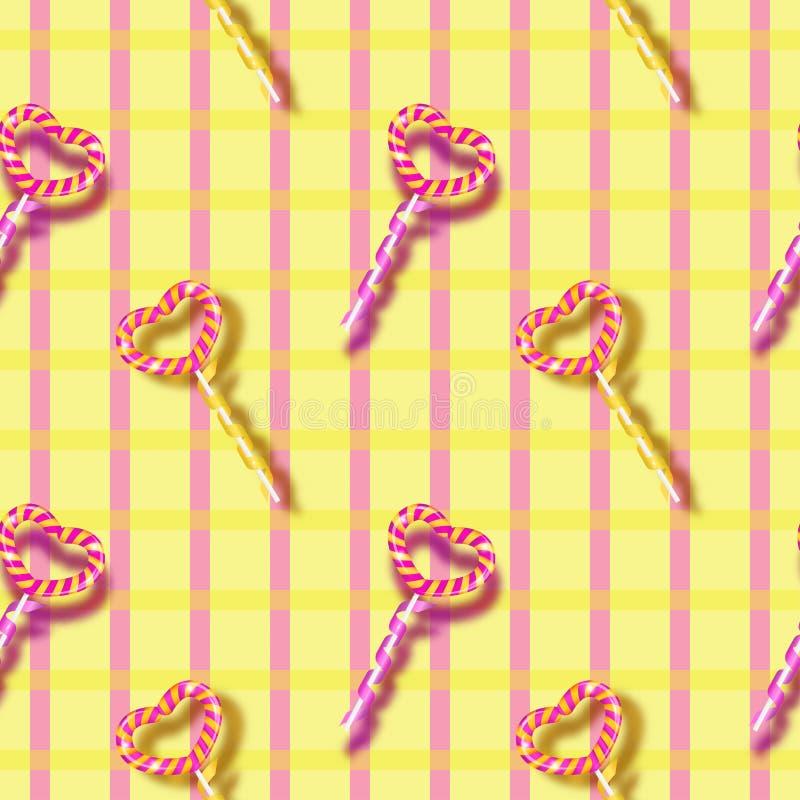 Bunte Liebe Herz formte Lutscher-Süßigkeits-nahtloses Muster für Valentinsgruß ` s Tag vektor abbildung