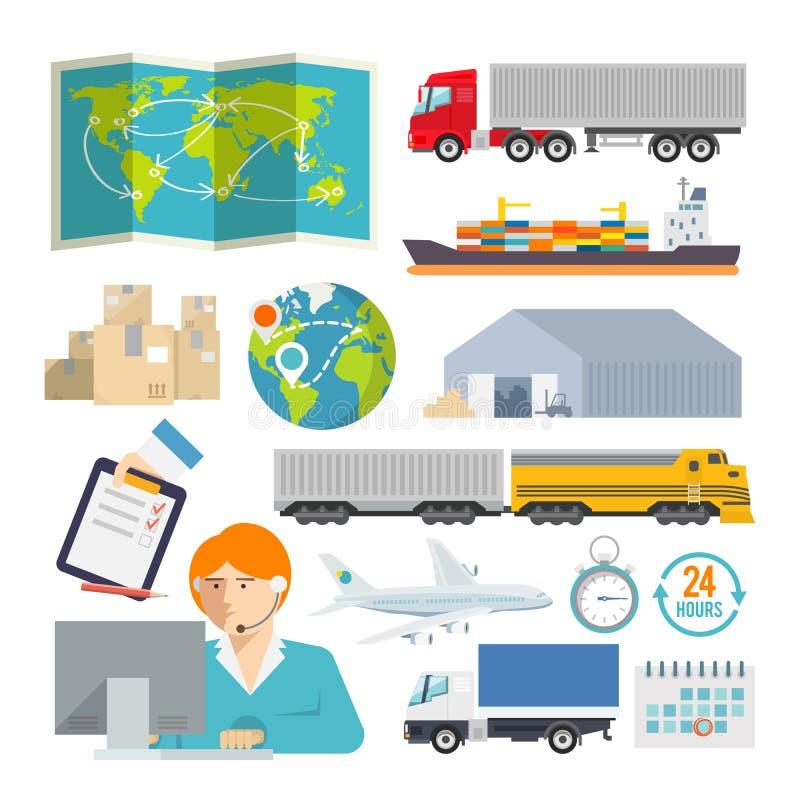 Bunte Logistikvektorikone eingestellt für Ihr lizenzfreies stockbild