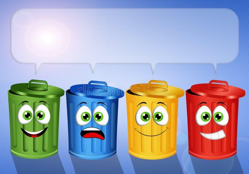 Bunte Mülltonnen für bereiten auf stock abbildung