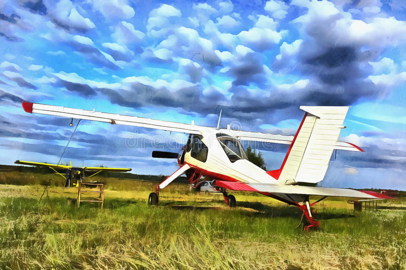 Bunte Malerei der Leichtflugzeugfläche parkte an einem Grasflugplatz lizenzfreie stockbilder