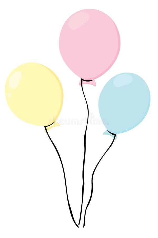 Bunte mehrfarbige Ballone Bündel in der flachen Art Getrennt auf weißem Hintergrund Vektor lizenzfreie abbildung