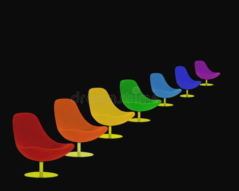 Bunte mehrfarbige Regenbogenstellen Sieben Regenbogen farbige Regenbogenstühle lizenzfreie stockfotos