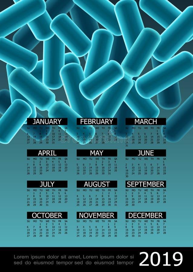 Bunte Mikrobiologie-2019-jähriges Kalender-Plakat lizenzfreie abbildung