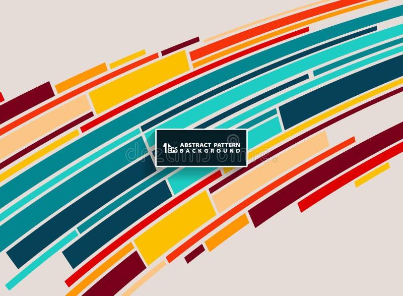 Bunte minimalistic Streifenlinie Musterentwurf der Zusammenfassung Sie können für Flieger, Broschüre, jährliche Schablone, Abdeck stock abbildung