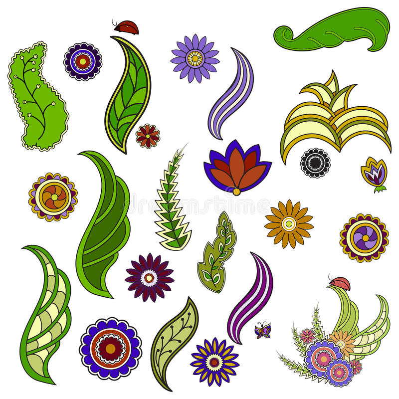 Bunte mit Blumenelemente Blumen und Grün Schmetterling, ladyb stock abbildung