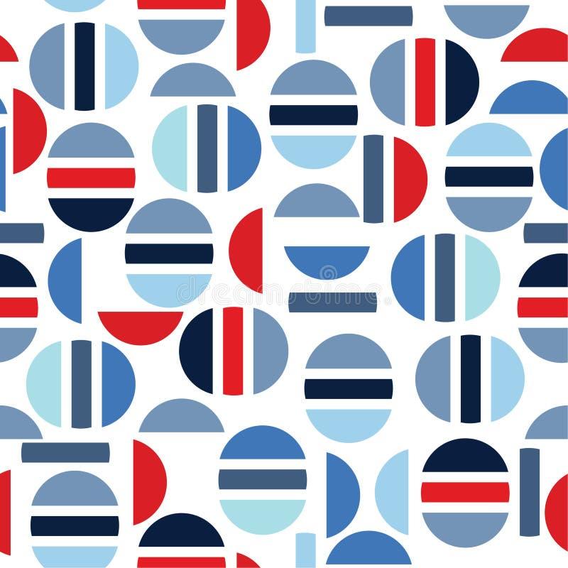 Bunte moderne Hälfte des Kreises und des geometrischen nahtlosen Musters VE lizenzfreie abbildung