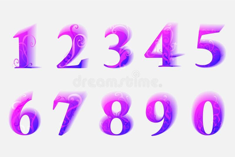Bunte moderne Zahlen von 0 bis 9 mit Frühlingsverzierung stock abbildung