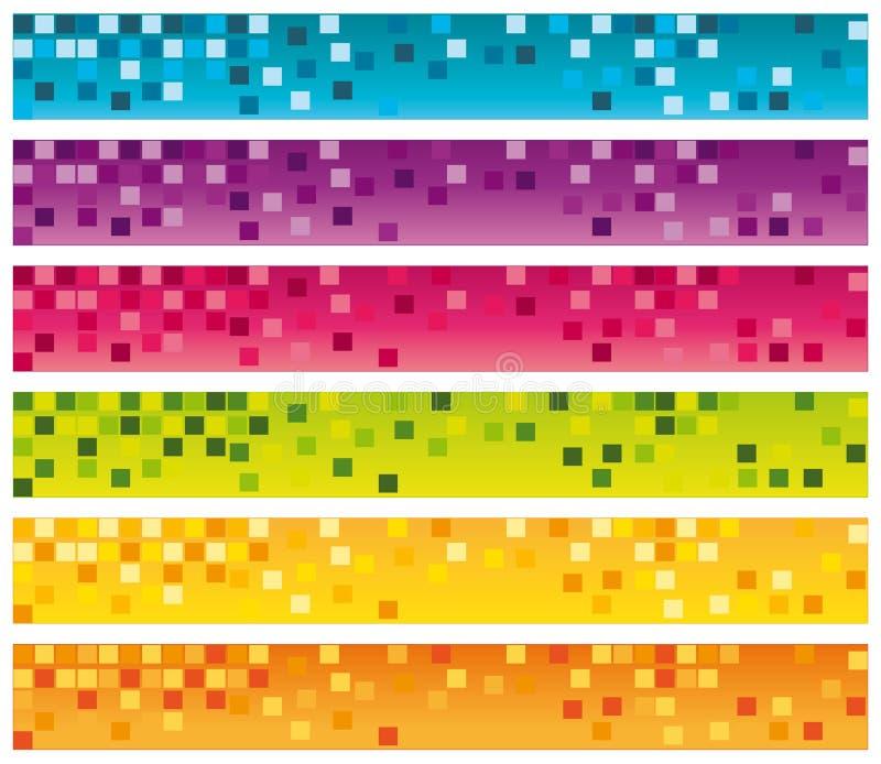 Bunte Mosaikfahnen eingestellt. vektor abbildung